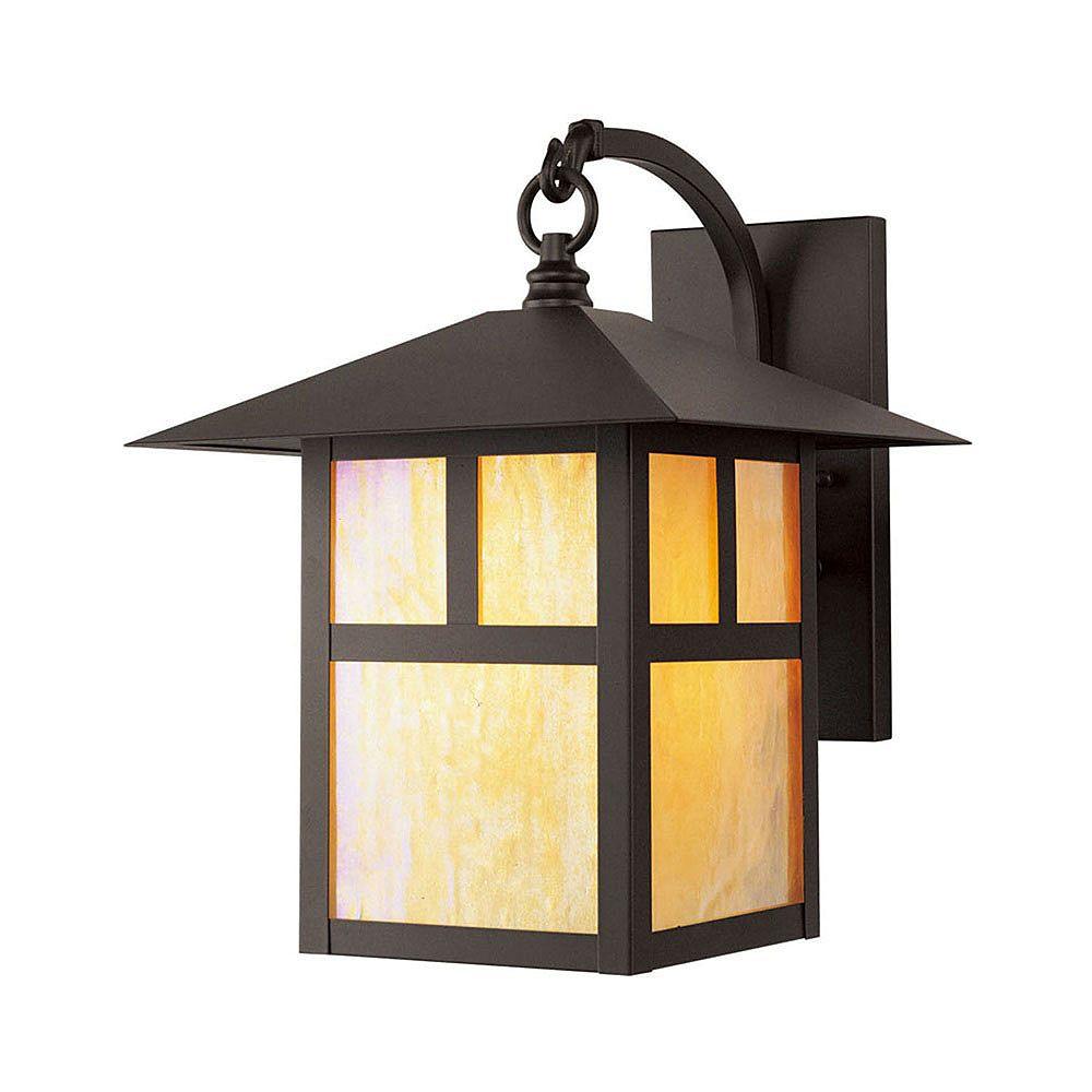 Illumine Providence 1 Light Bronze Incandescent Wall Lantern with Iridescent Tiffany Glass
