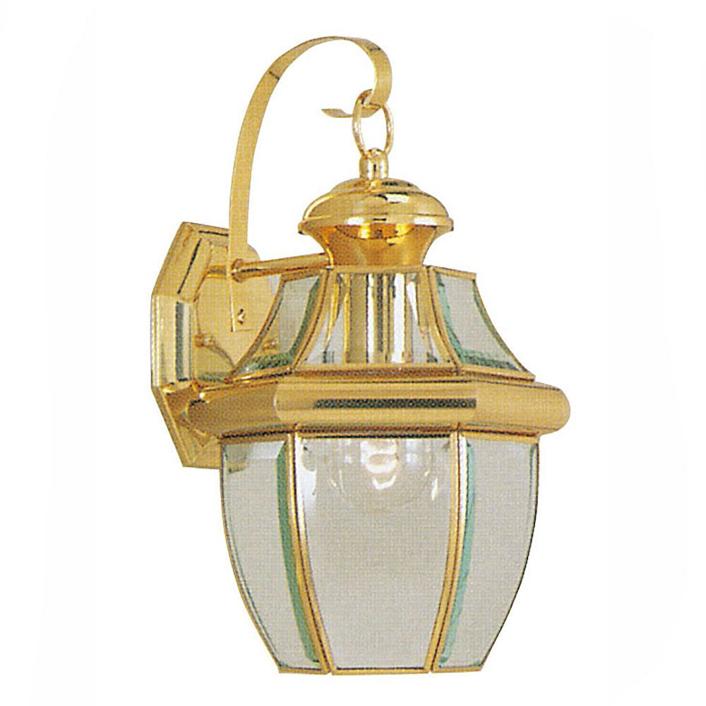Illumine Providence 1 Light Bright Brass Incandescent Wall Lantern with Clear Flat Glass