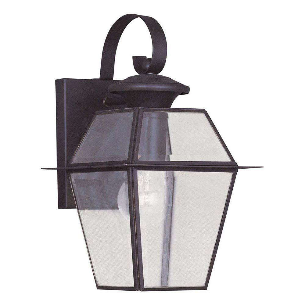 Illumine Providence 1-Light Bronze Wall Lantern with Clear Beveled Glass