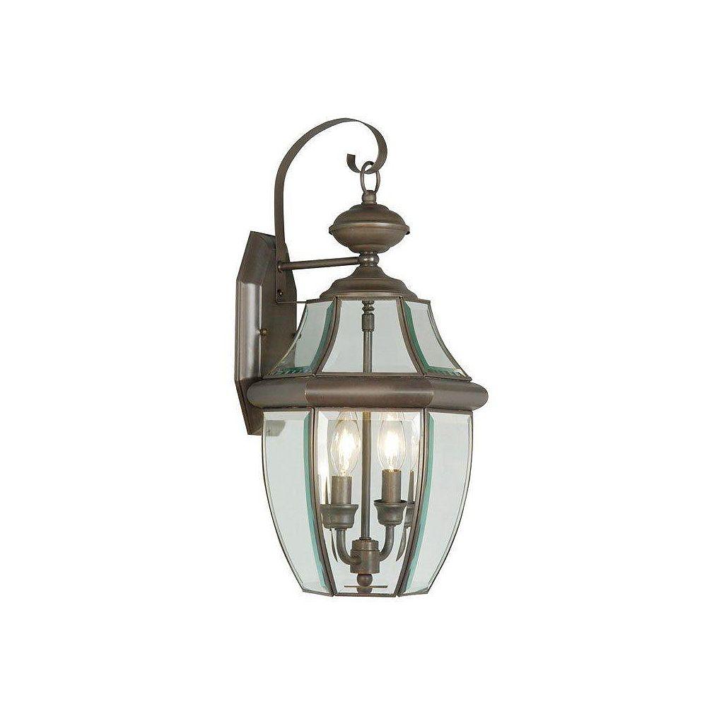 Illumine Providence 2-Light Bronze Wall Lantern with Clear Beveled Glass