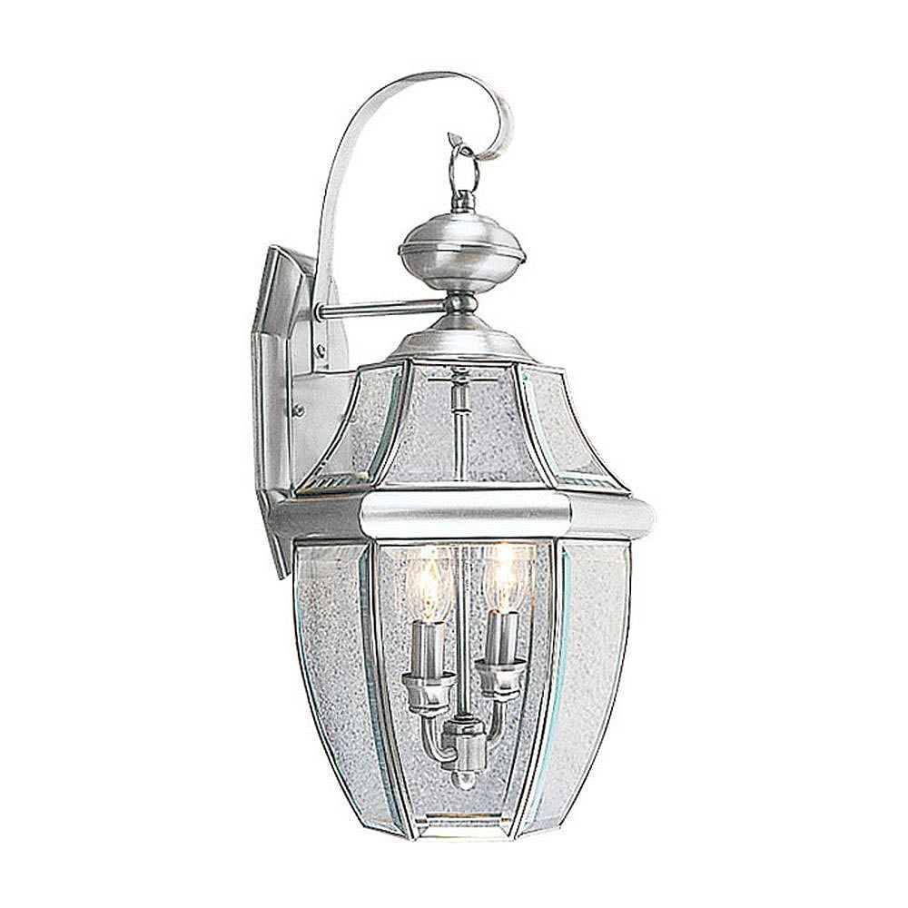 Illumine Providence 2-Light Brushed Nickel Wall Lantern with Clear Beveled Glass