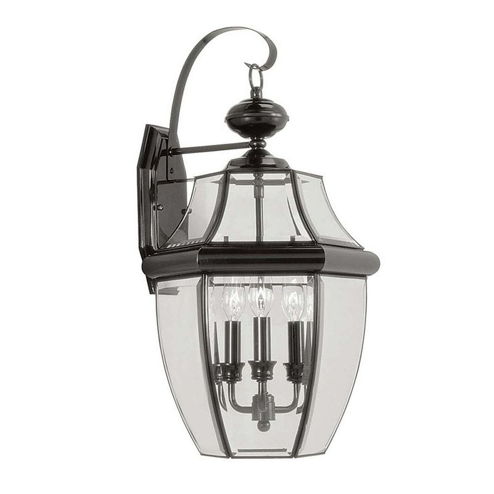 Illumine Providence 3 Light Black Incandescent Wall Lantern with Clear Beveled Glass