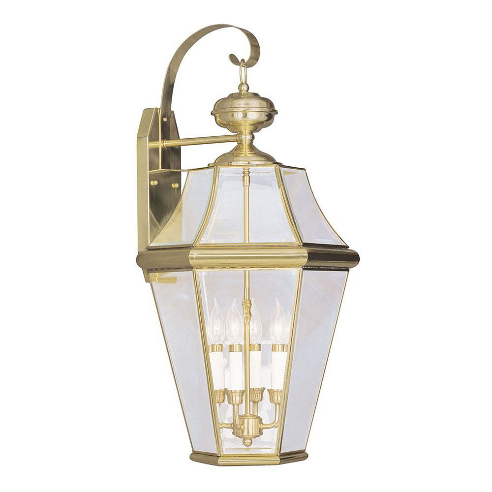 Illumine Providence 4 Light Bright Brass Incandescent Wall Lantern with Clear Beveled Glass