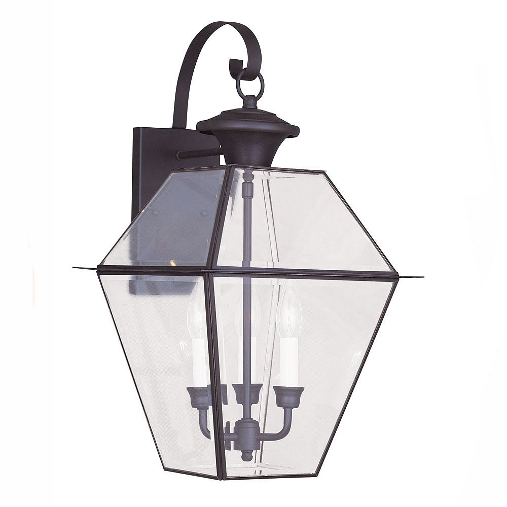 Illumine Providence 3 Light Bronze Incandescent Wall Lantern with Clear Beveled Glass