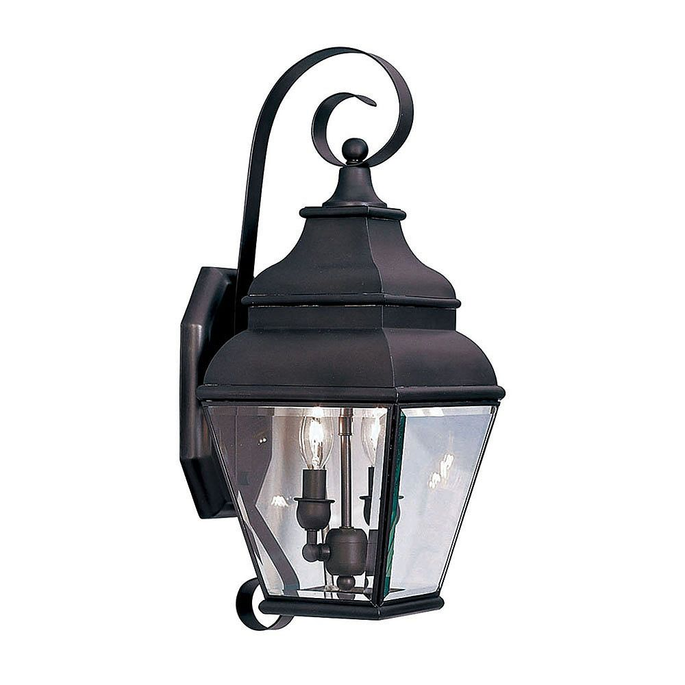 Illumine Providence 2 Light Bronze Incandescent Wall Lantern with Clear Beveled Glass