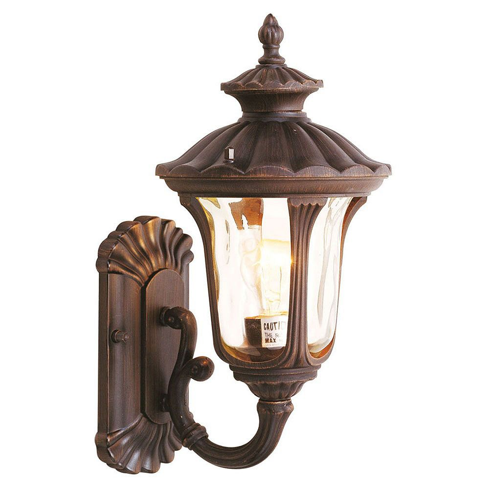 Illumine Providence 1-Light Bronze Wall Lantern with Light Amber Water Glass