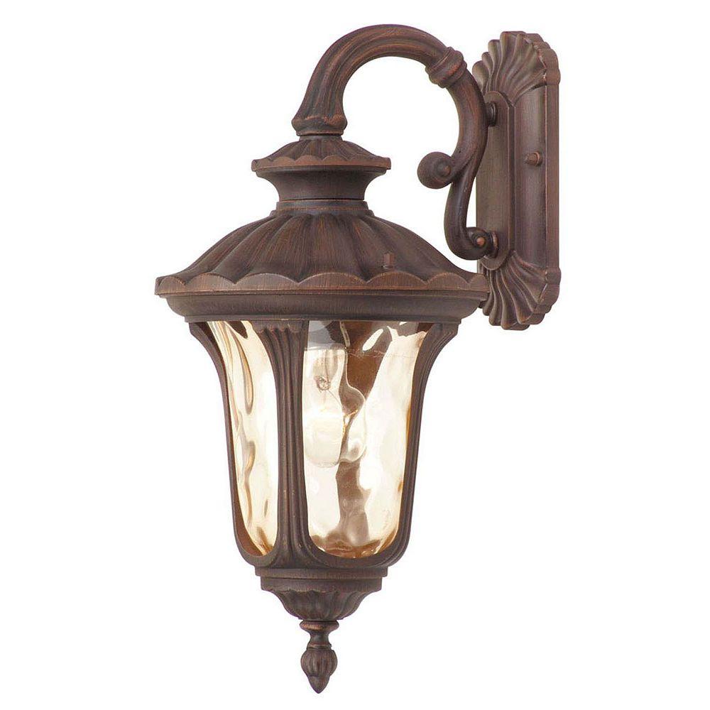 Illumine Providence 1 Light Bronze Incandescent Wall Lantern with Light Amber Water Glass
