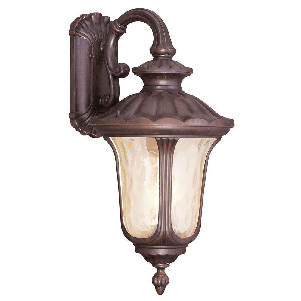 Illumine Providence 3 Light Bronze Incandescent Wall Lantern with Light Amber Water Glass
