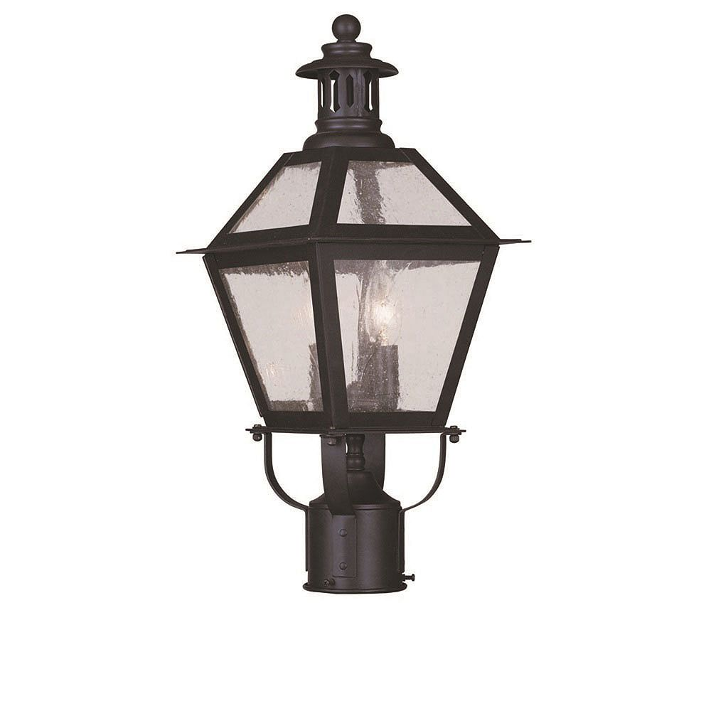 Illumine Providence 2 Light Bronze Incandescent Post Head with Seeded Glass
