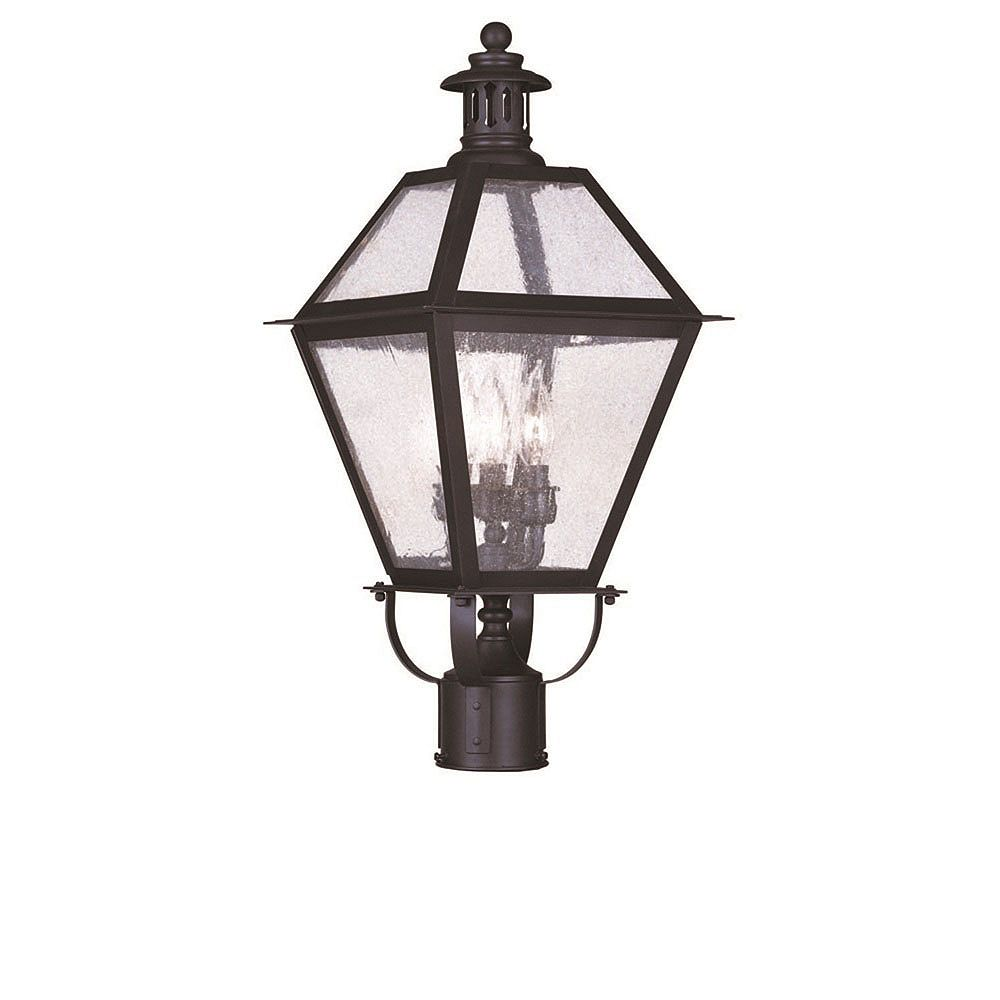 Illumine Providence 3 Light Bronze Incandescent Post Head with Seeded Glass