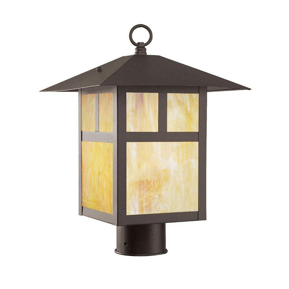 Illumine Providence 1 Light Bronze Incandescent Post Head with Iridescent Tiffany Glass