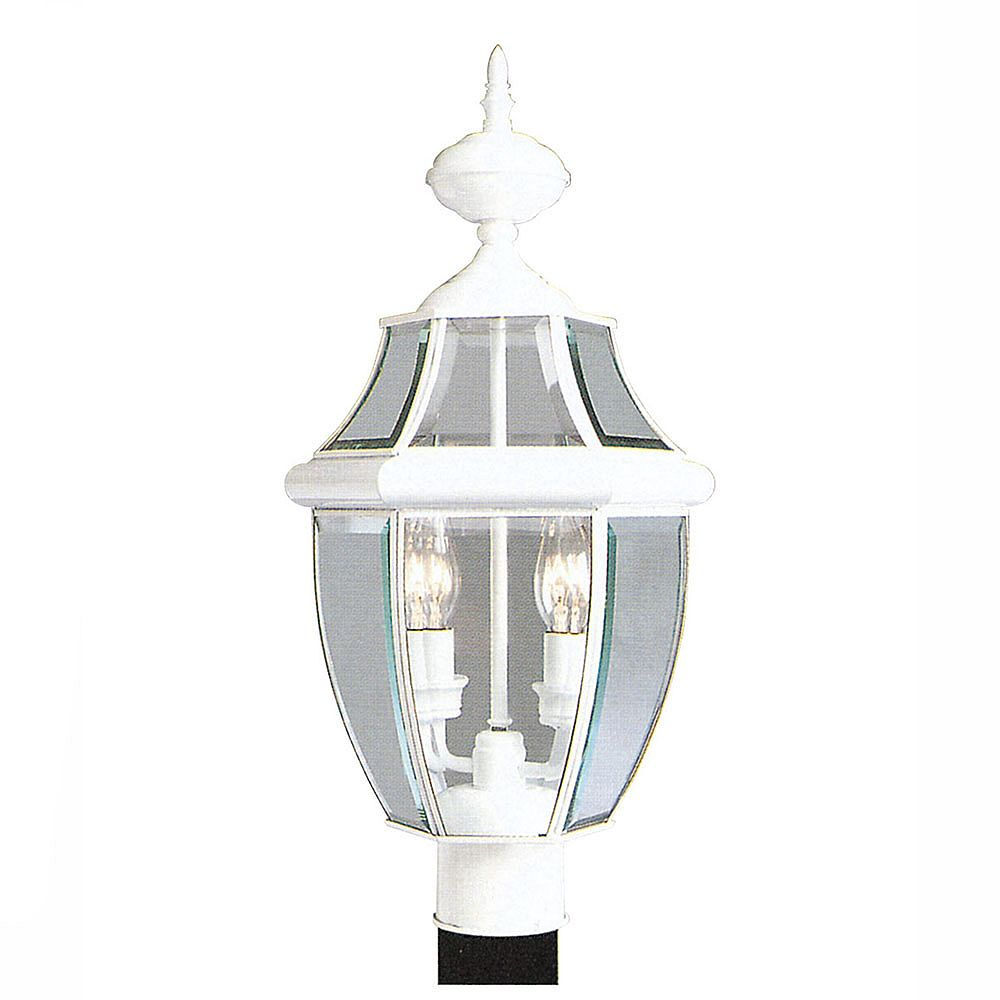 Illumine Providence 2 Light White Incandescent Post Head with Clear Beveled Glass