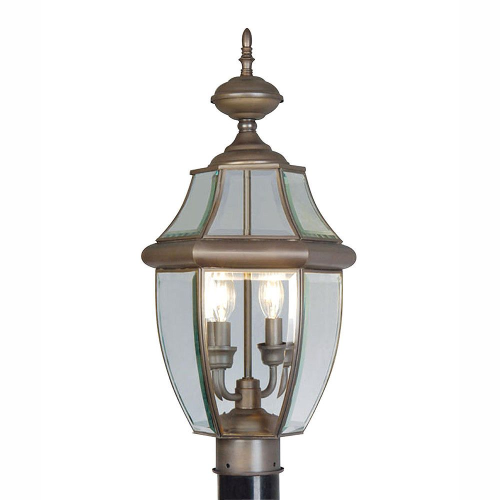 Illumine Providence 2 Light Bronze Incandescent Post Head with Clear Beveled Glass