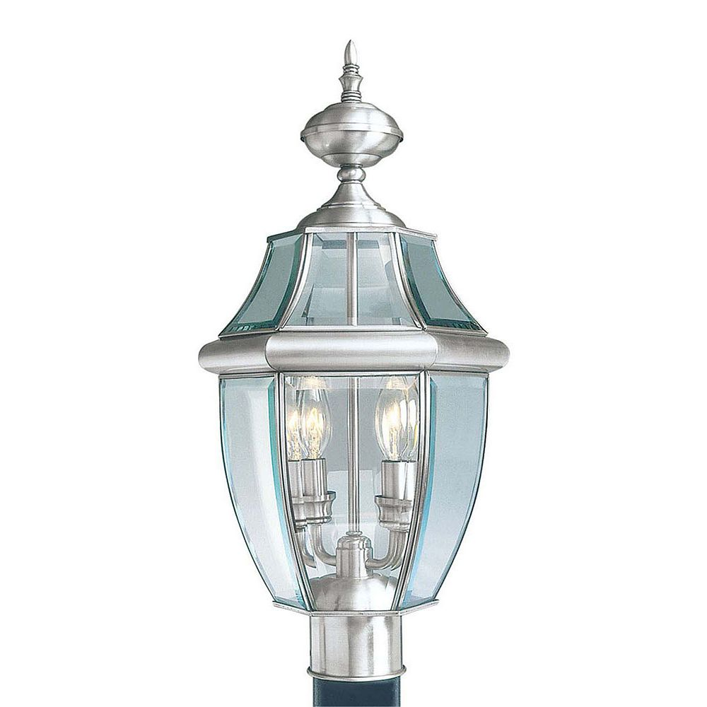 Illumine Providence 2-Light Brushed Nickel Post Head with Clear Beveled Glass