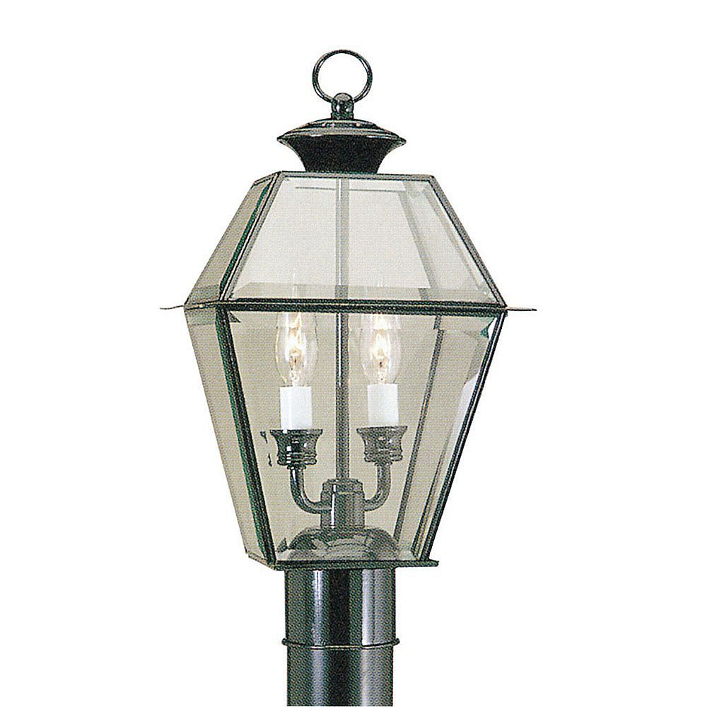 Illumine Providence 2 Light Black Incandescent Post Head with Clear Beveled Glass