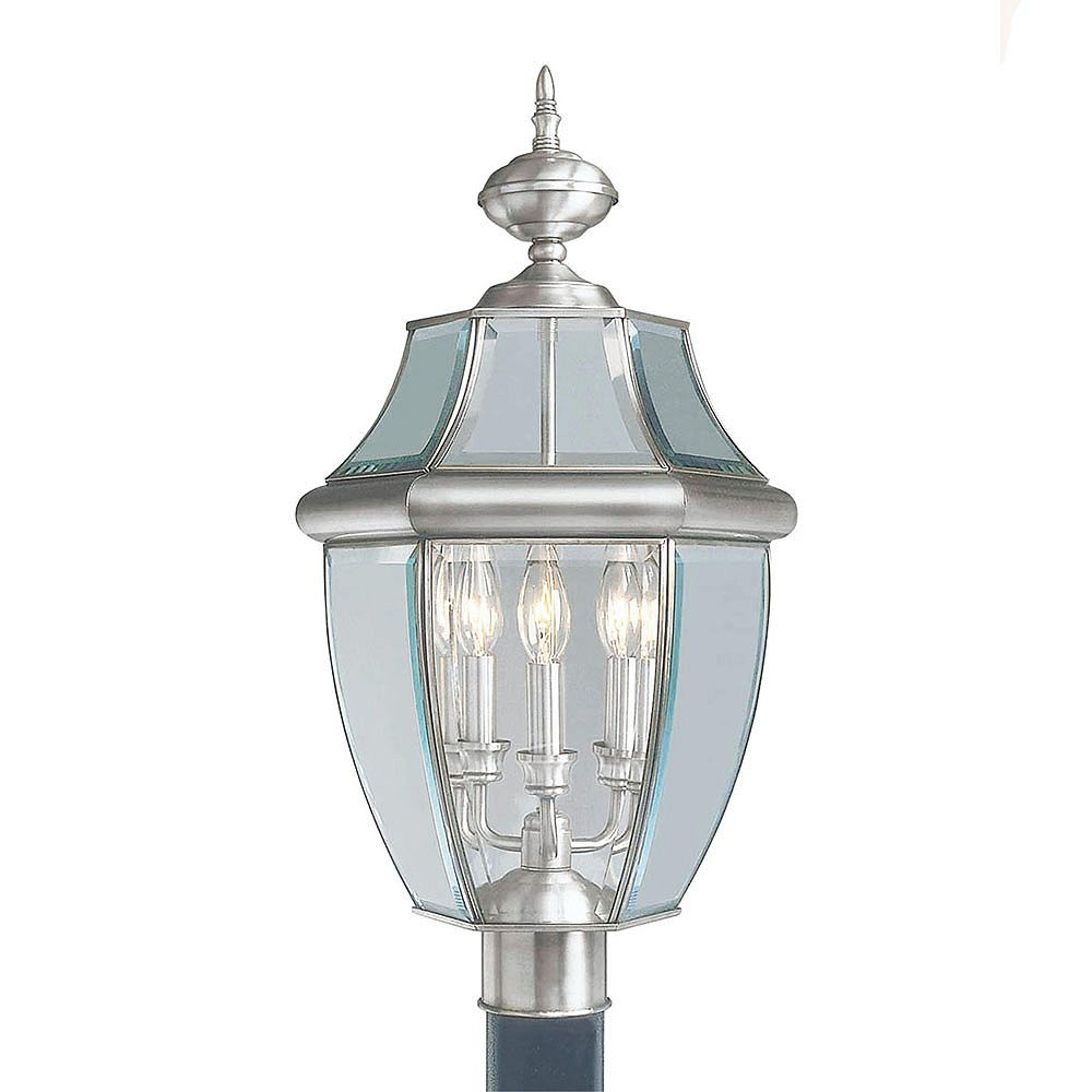 Illumine Providence 3 Light Brushed Nickel Incandescent Post Head with Clear Beveled Glass