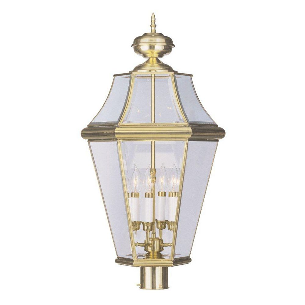 Illumine Providence 4 Light Bright Brass Incandescent Post Head with Clear Beveled Glass