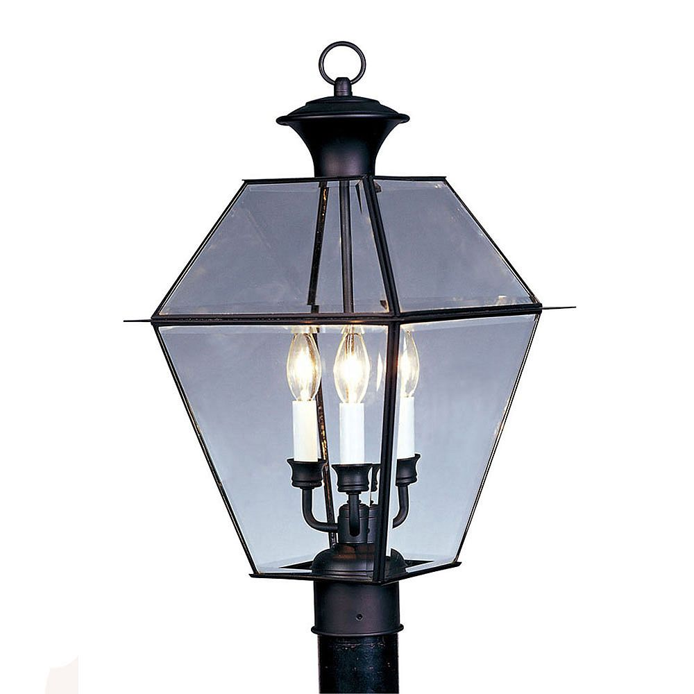 Illumine Providence 3 Light Black Incandescent Post Head with Clear Beveled Glass