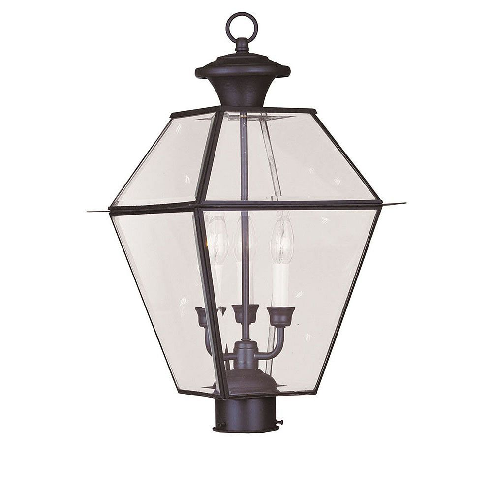 Illumine Providence 3 Light Bronze Incandescent Post Head with Clear Beveled Glass