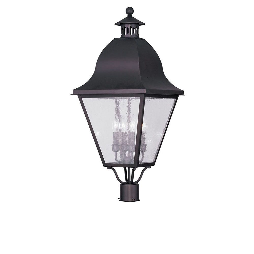 Illumine Providence 4 Light Bronze Incandescent Post Head with Seeded Glass