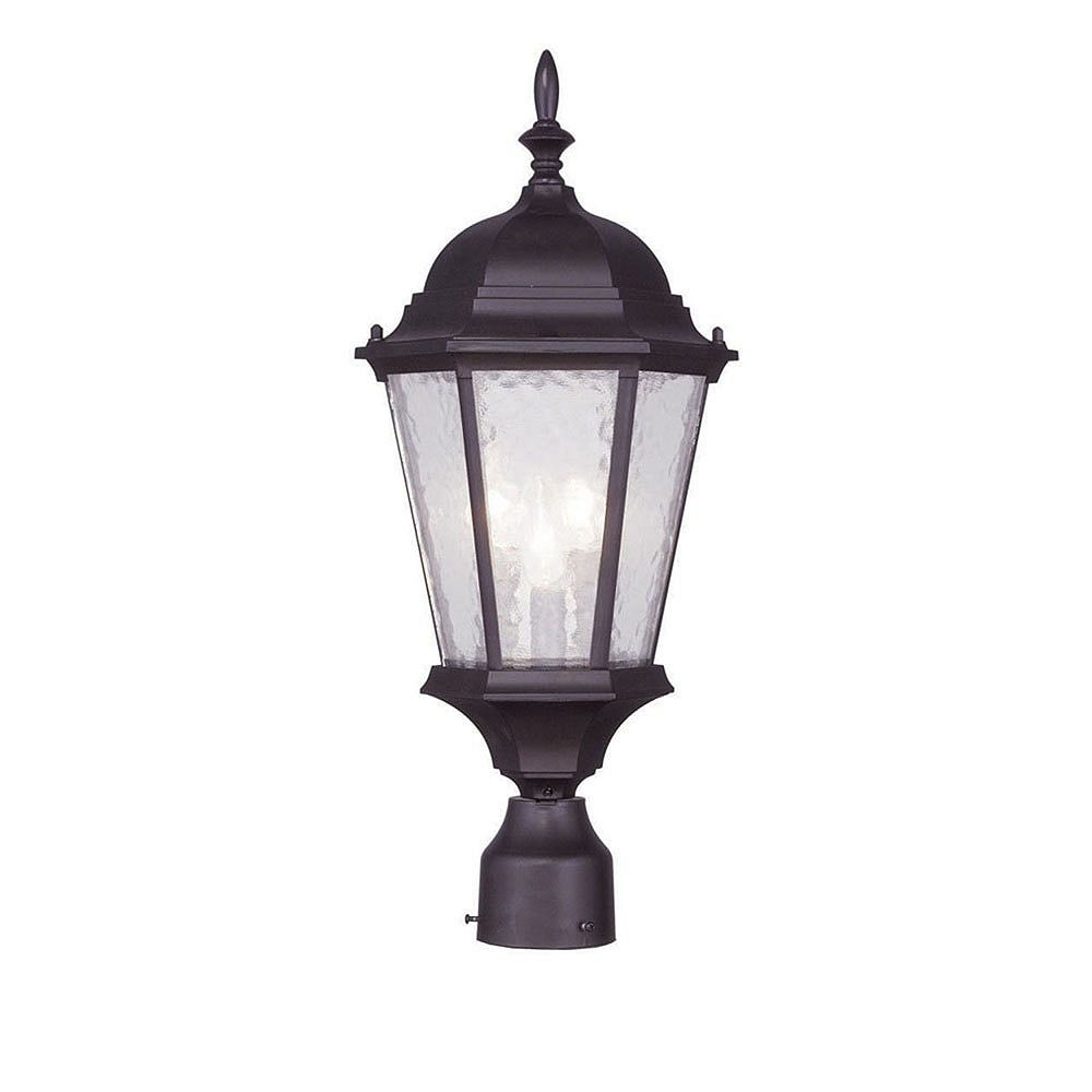 Illumine Providence 3-Light Bronze Post Head with Clear Water Glass