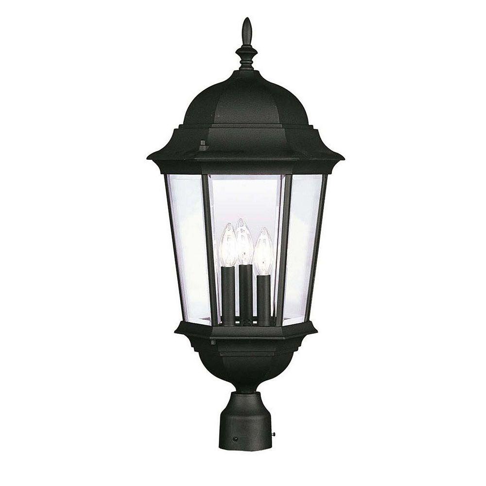 Illumine Providence 3-Light Black Post Head with Clear Beveled Glass