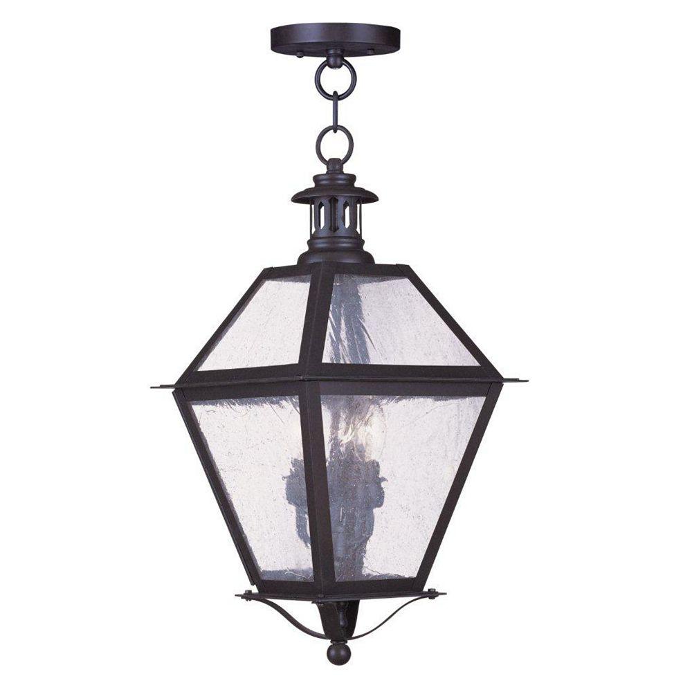 Illumine Providence 3 Light Bronze Incandescent Pendant with Seeded Glass
