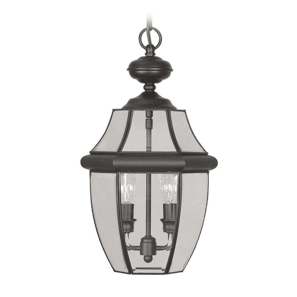 Illumine Providence 2-Light Black Pendant with Clear Beveled Glass