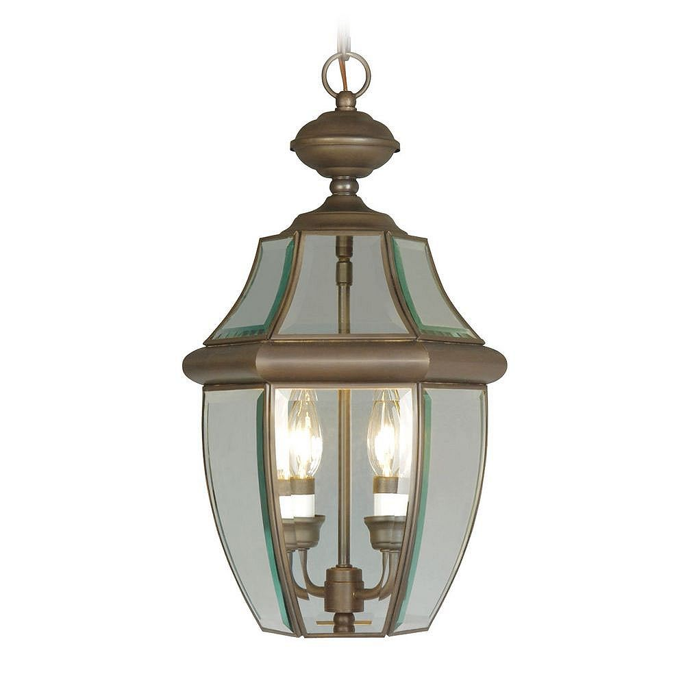 Illumine Providence 2 Light Bronze Incandescent Pendant with Clear Beveled Glass
