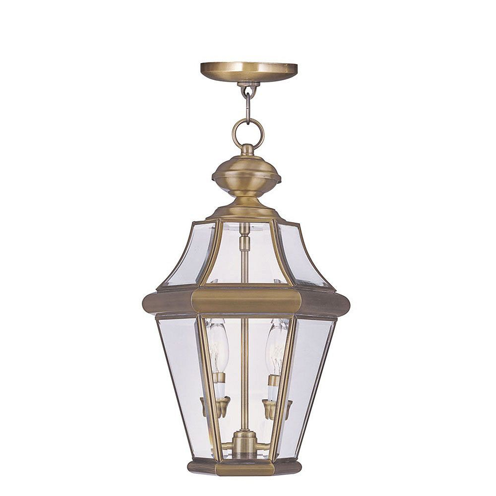 Illumine Providence 2 Light Bright Brass Incandescent Pendant with Clear Beveled Glass
