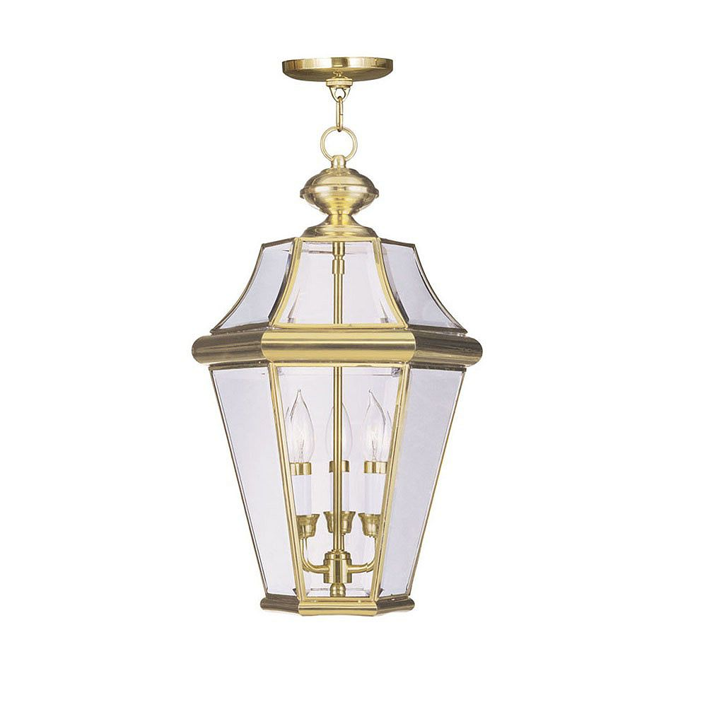 Illumine Providence 3 Light Bright Brass Incandescent Pendant with Clear Beveled Glass