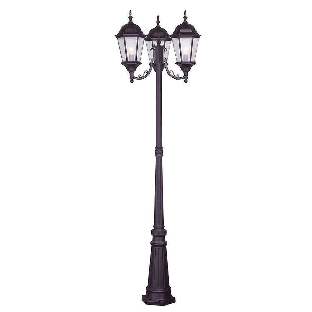 Illumine pilier monture lumière avec abat-jour clair couleur en bronze