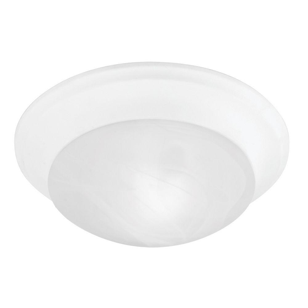 Illumine Providence 1-Light White Semi Flush Mount with White Alabaster Glass