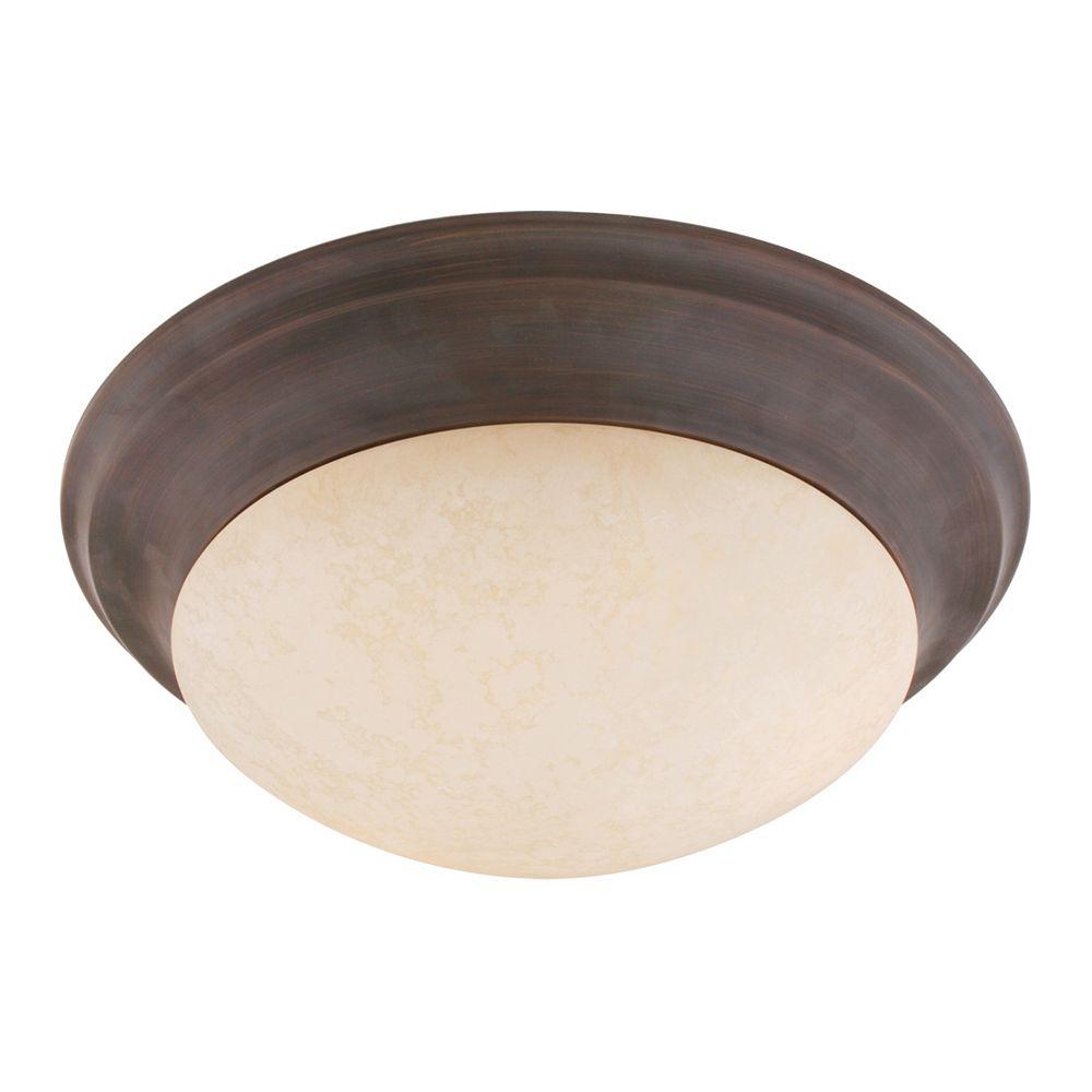 Illumine Providence 1 Light Bronze Incandescent Semi Flush Mountwith Vintage Scavo Glass