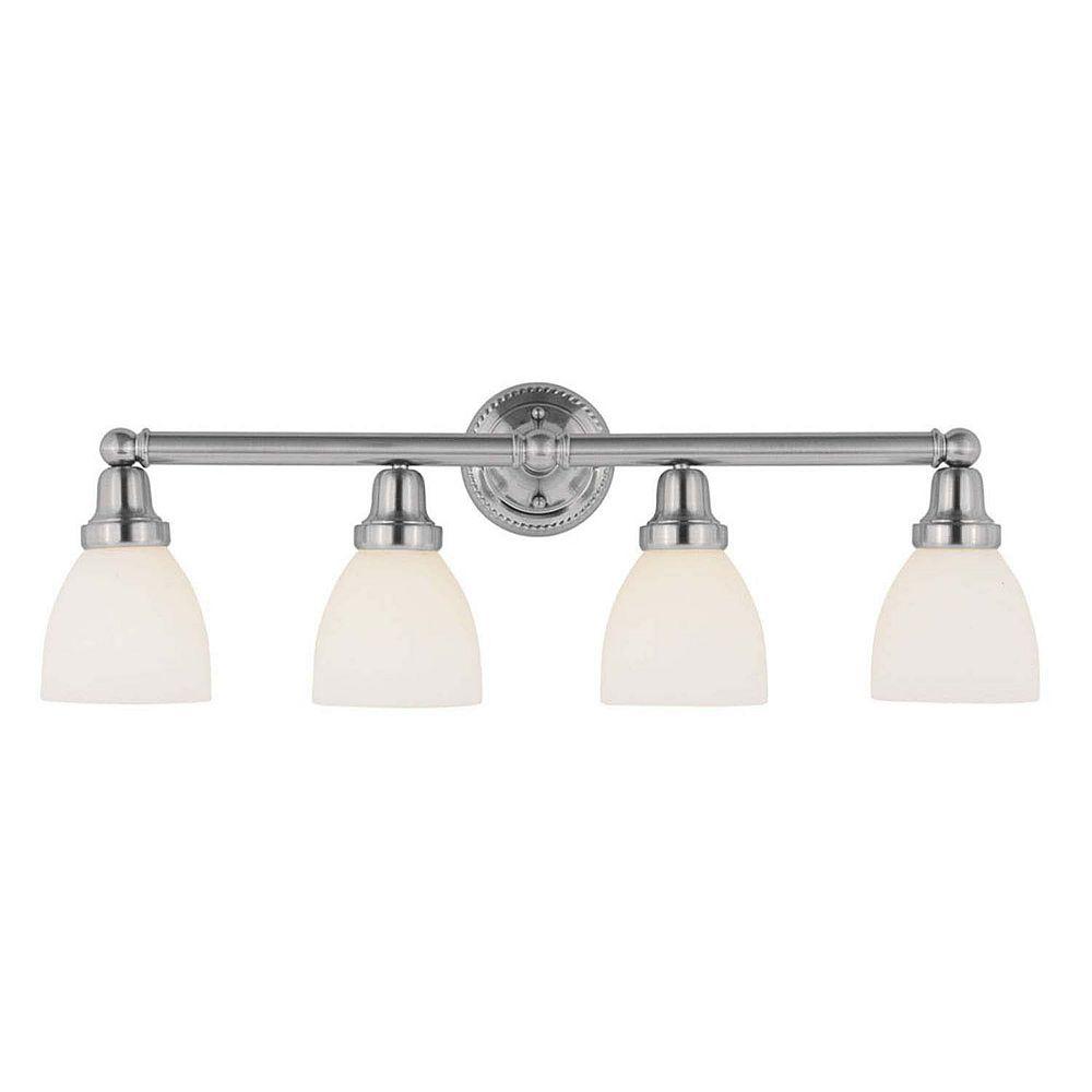 Illumine Providence 4-Light Chrome Bath Vanity with Satin Glass