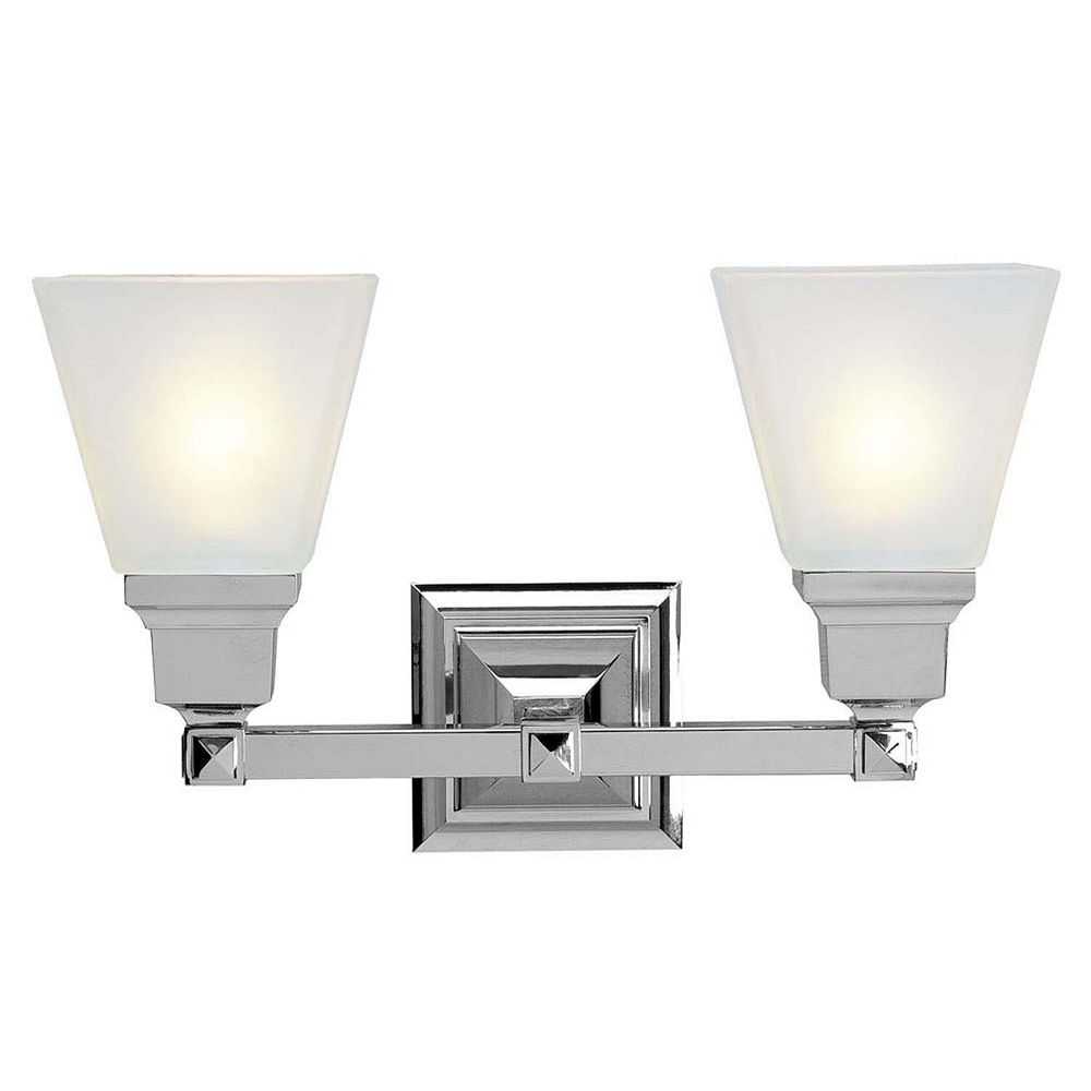 Illumine Providence 2 Light Brushed Nickel Incandescent Bath Vanity with White Frosted Glass