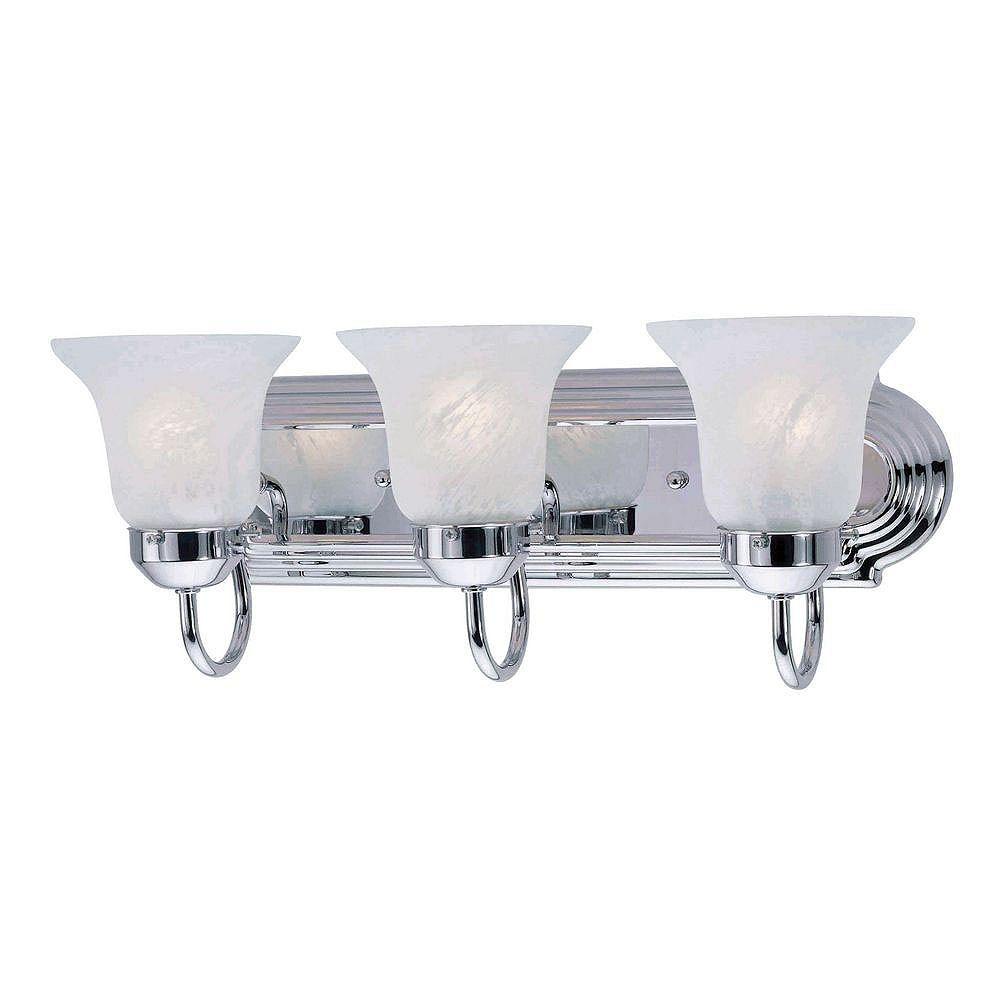 Illumine Providence 3 Light Chrome Incandescent Bath Vanity with White Alabaster Glass