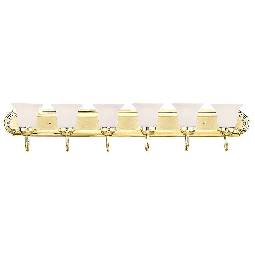 Illumine Providence 6 Light Bright Brass Incandescent Bath Vanity with White Alabaster Glass