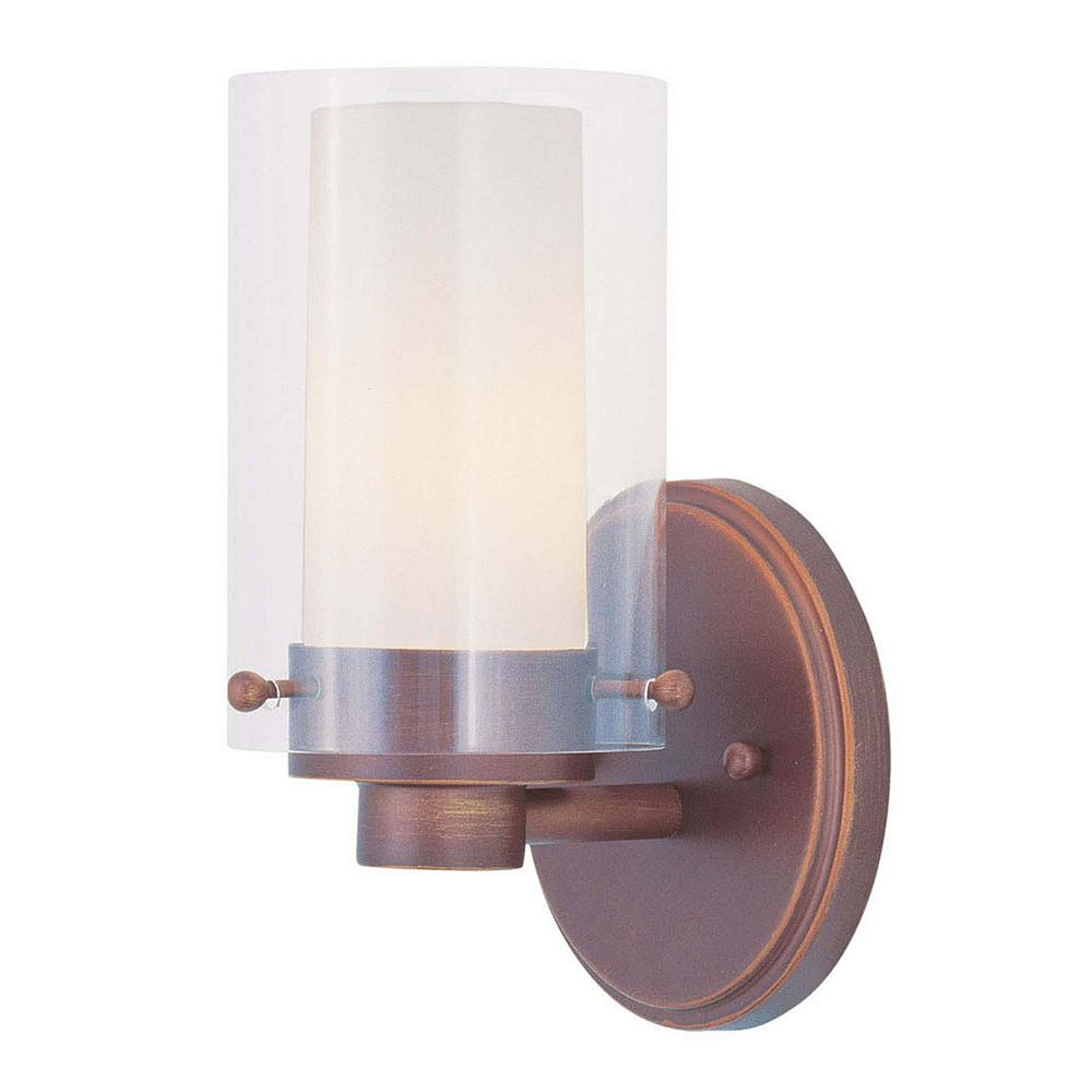 Illumine Providence 1 Light Bronze Incandescent Bath Vanity with Clear Outside and Opal Inside Glass