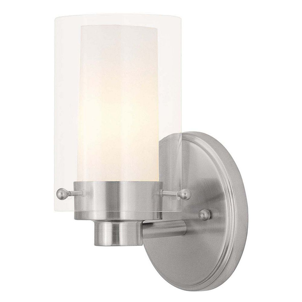 Illumine Providence 1-Light Brushed Nickel Bath Vanity with Clear Outside and Opal Inside Glass