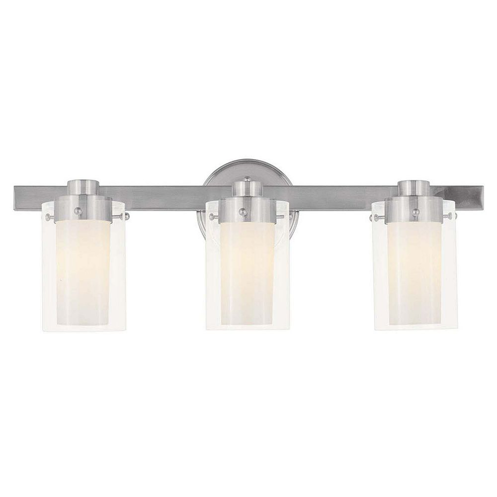Illumine Providence 3 Light Brushed Nickel Incandescent Bath Vanity with Clear Outside and Opal Inside Glass