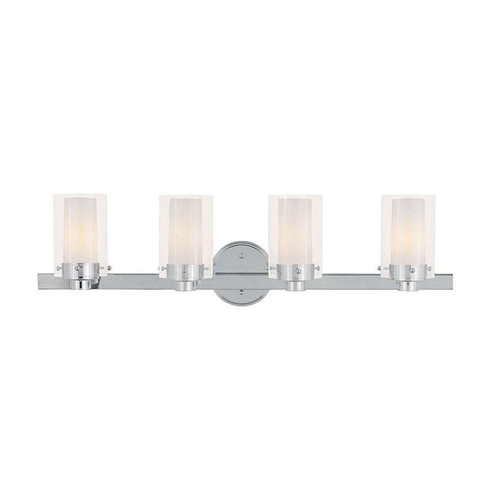 Illumine Providence 4-Light Chrome Bath Vanity with Clear Outside and Opal Inside Glass