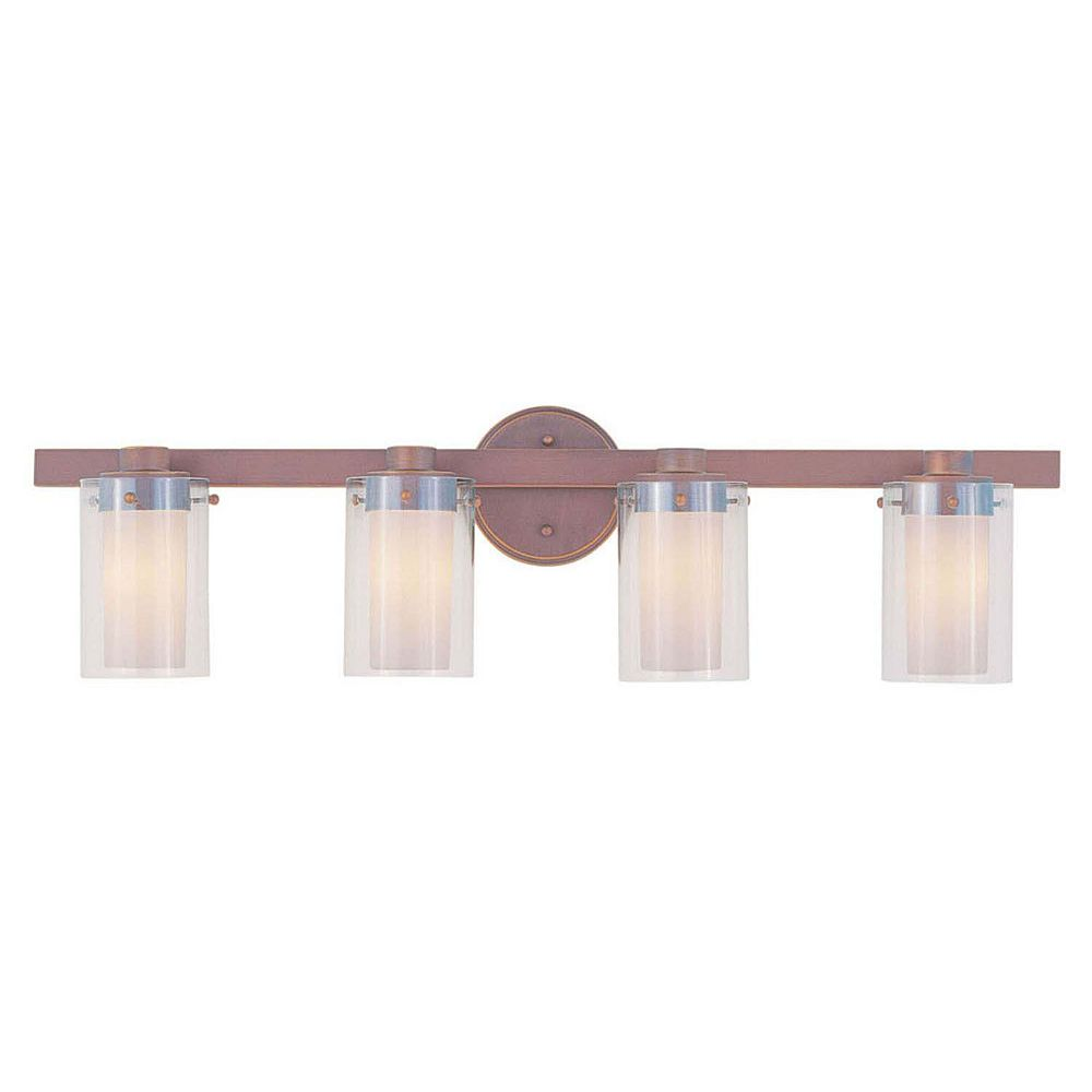 Illumine Providence 4 Light Bronze Incandescent Bath Vanity with Clear Outside and Opal Inside Glass