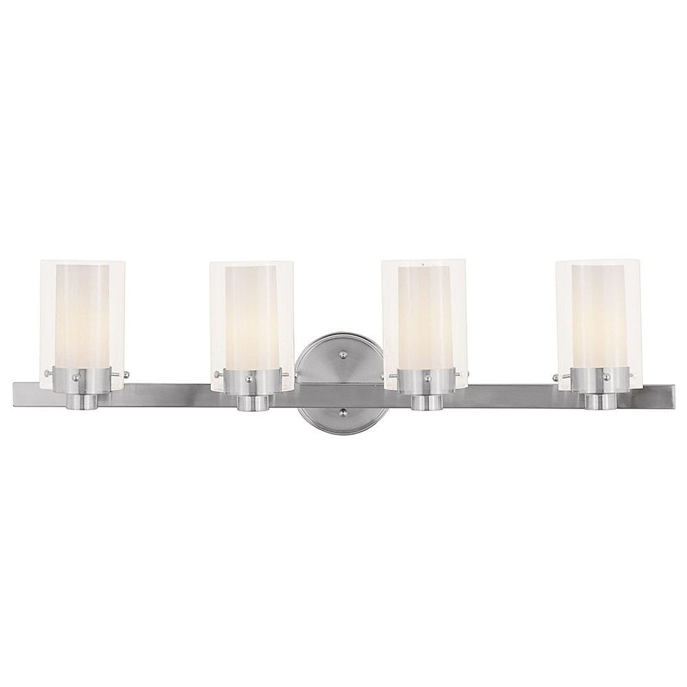Illumine Providence 4-Light Brushed Nickel Bath Vanity with Clear Outside and Opal Inside Glass