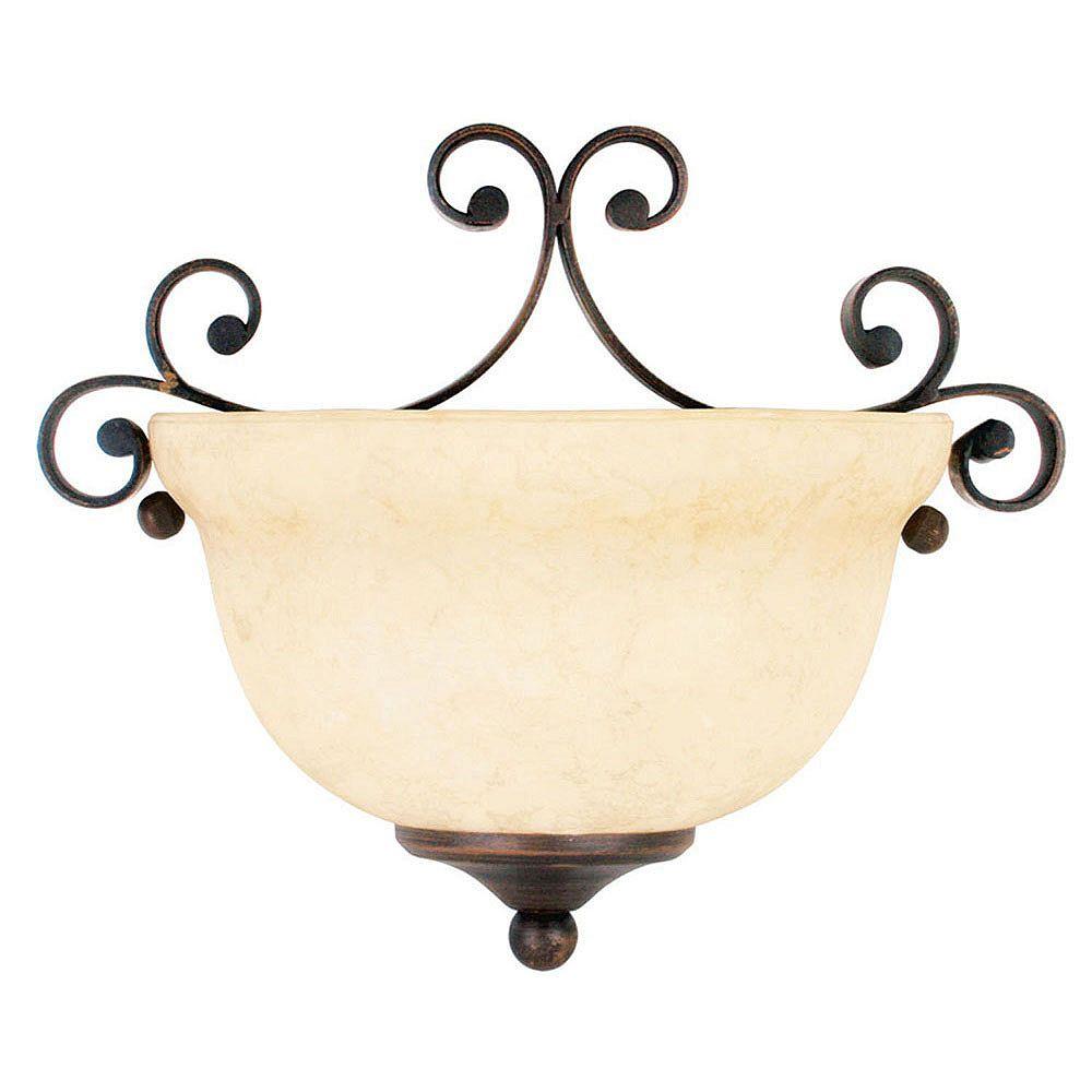Illumine Providence 1-Light Bronze Wall Sconce with Vintage Scavo Glass