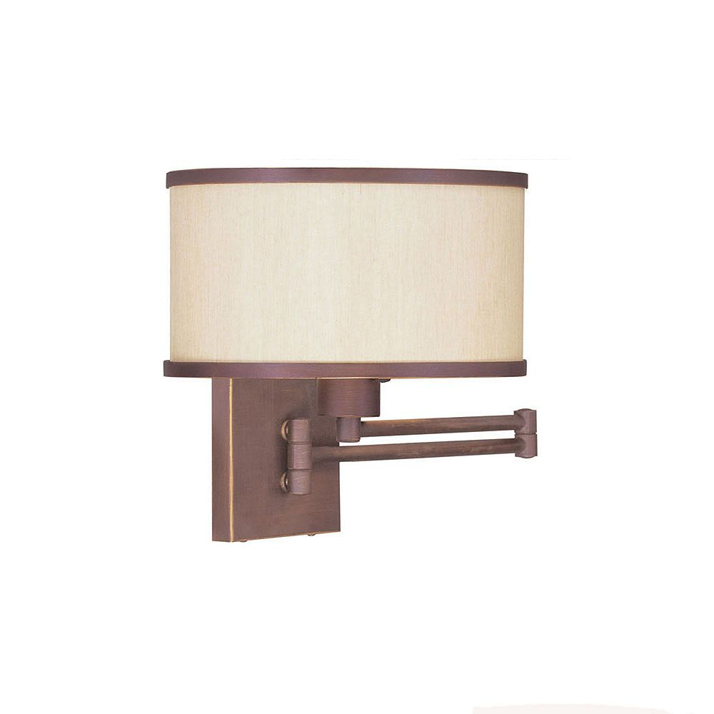 Illumine Providence 1 Light Bronze Incandescent Swing Arm Wall Sconce with a Champagne Hardback Shade