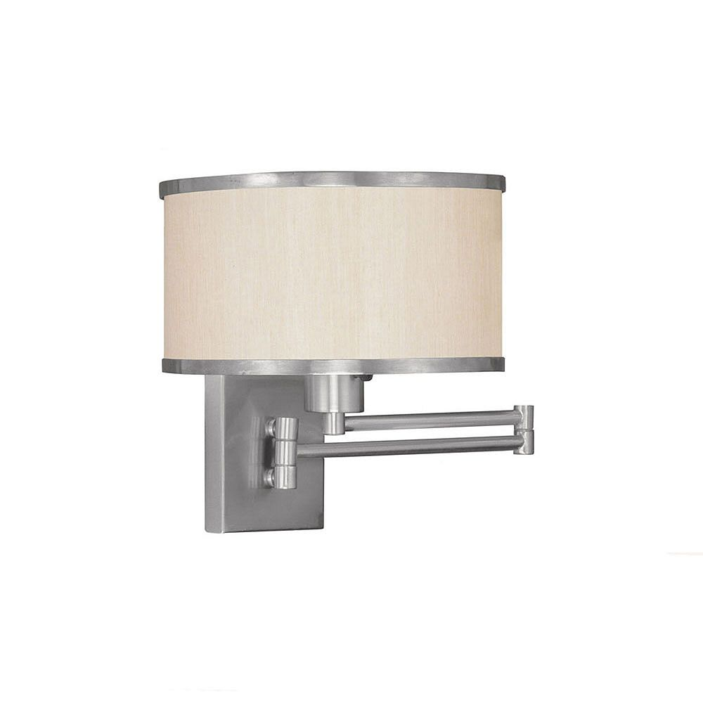 Illumine Providence 1 Light Brushed Nickel Incandescent Swing Arm Wall Sconce with a Champagne Hardback Shade