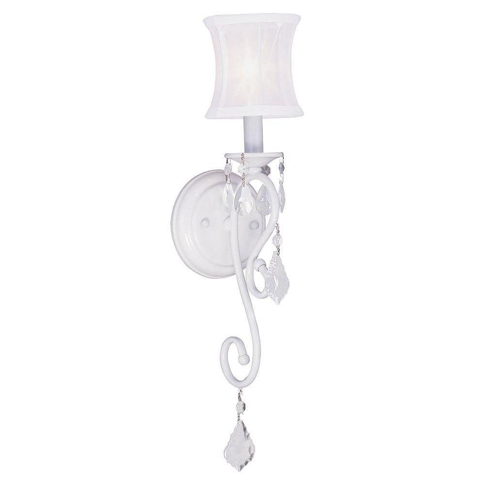 Illumine Providence 1-Light White Wall Sconce with an Off-White Silk Shimmer Shade