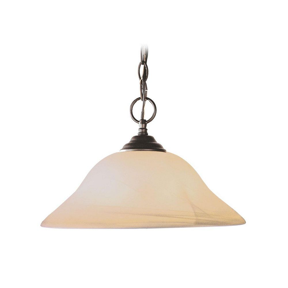 Illumine Providence 1-Light Bronze Pendant with Honey Alabaster Glass