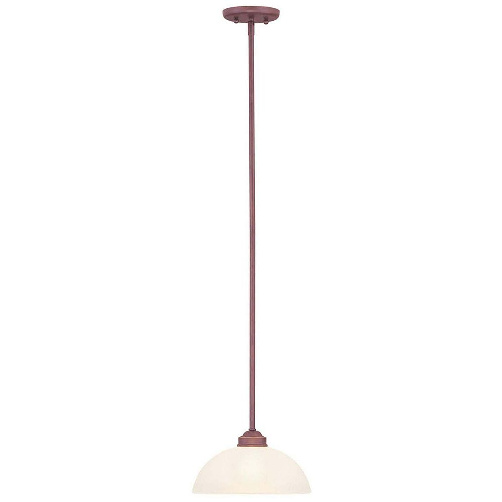 Illumine Providence 1 Light Vintage Bronze Incandescent Pendant with Satin Glass